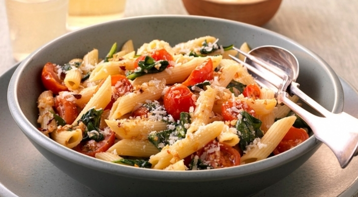Image of Penne Pasta with Spinach and Smoked Tomatoes